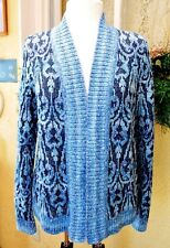 Christopher & Banks Open Cardigan Sweater XL Navy Blue Scrolls Ombre Stripes