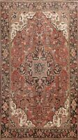 Vintage Geometric Traditional Heriz Hand-Knotted Area Rug Oriental 8'x11' Carpet