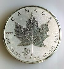 2016 Canada Silver .9999  Maple Leaf With Monkey Privy Mark- Reverse PL