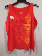 NWT Hanes Cotton Jersey V Neck Wide Strap Graphic Tank Top Coral Sunset 2X