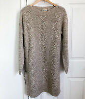 Indigo Collection Marks Spencer Jumper Dress Size 14 Oatmeal Chunky Cable Knit