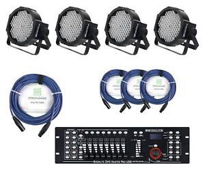 4x RGB LED Lumière PAR Jeux Scène Éclairage DJ Fête Disco Câbles Contrôleur DMX