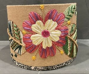 """Anthropologie Garden Floral Flowers Embroidered Beaded Raffia Lampshade 12"""""""