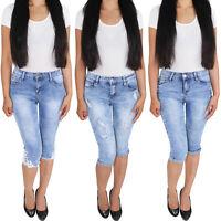 Damen Capri Shorts Sommerhose Bermuda 3/4  Jeans Kurze Hose Stretch Hüftjeans