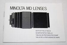 Minolta MD Lenses - Depth of Field Tables Booklet