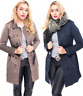New Ladies Womens Jacket Trench Double Breasted Buckle PU Leather Belted Coat