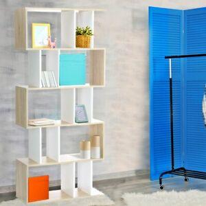 5 Tier Display Book Storage Shelf Unit White Brown Sturdy Two Tone Colour Design