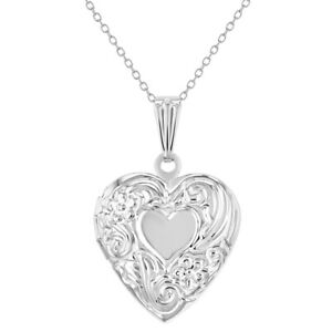 """Small Floral Print Memory Photo Pendant Heart Locket Girls Necklace 19"""""""