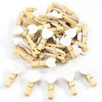 10/20Pcs Mini Heart Wooden Pegs Photo Clips Wedding Home Decor Photo Wall 35mm