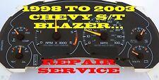 98 99 2000 01 02 03 CHEVY BLAZER JIMMY SUV SPEEDOMETER INSTRUMENT CLUSTER REPAIR