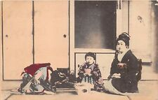 Japanese Woman & Children Eating Tea? Handcolored Postcard 1910s