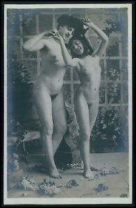 ee29 French nude woman 2nd choice condition original c1900-1920s photo postcard