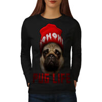 Wellcoda Cool Pug Meme Womens Long Sleeve T-shirt, Swag Casual Design