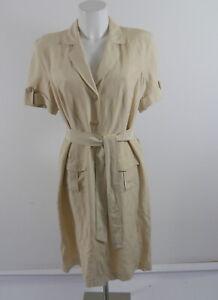 ESCADA Damen Hemdblusenkleid Safaristil SeidenKleid Seide m.Leinen beige gr. 40