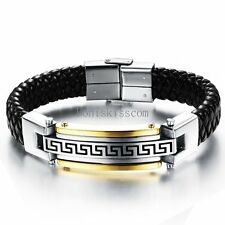 Men's Stainless Steel Greek Key Link Black Braided Leather Bracelet Cuff Bangle
