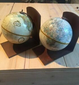 Metal Pair of Rotating Globe Bookends from Mexico