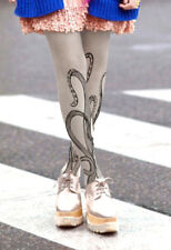 Ladies Unique Grey Tattoo Style Octopus Design Tights Pantyhose  Regular Size