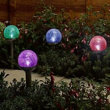 6 x Colour Changing Led Crackle Ball Solar Lights Ice Globe Orb Stainless Steel