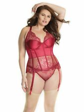 Womens Plus Size Satin and Lace Underwire Fully Boned Lace Up Bustier Corset Set