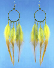 F3444 fashion yellow Feather circle chain dangle chandelier earrings jewelry