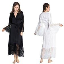 Lace Patchwork Satin Ladies Kimono Robe Sexy Silk Long Women Nightgown Sleepwear