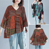 ZANZEA Women Bell Sleeve Batwing Floral Print Shirt Tops V Neck Ethnic Blouse US