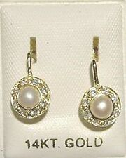 New 14kt Gold Pearl Antique Style Euro Earrings
