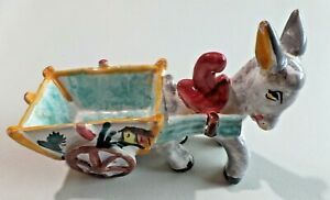 """Small Ceramic Donkey Pulling Cart Planter Hand Painted Made in Italy 6"""" Long"""