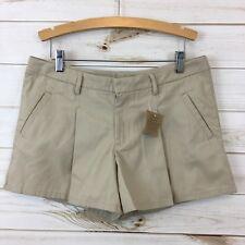 NEW Lands End Girls Pleated Adjustable Waist Khaki Shorts. Size 14+