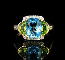 CUSHION CUT NATURAL BLUE TOPAZ HALF MOON PERIDOT & ROUND DIAMOND 14K GOLD RING