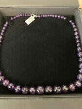 amethyst bead necklace Stirling silver fastener