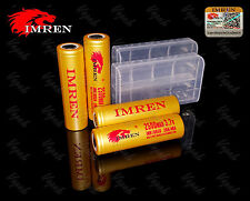 4 Imren GOLD 18650 2500mAh/20A/40A Flat Top Rechargeable Battery / Imren Case x2