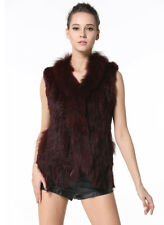 Women Knit Rabbit Fur Vests Real Fur Waistcoat Casual Raccoon Fur Collar Gilets