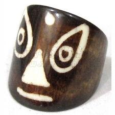 Wide Tibetan Buddha Eye Face Alike Engraved Yak Bone Amulet Ring, Thumb Ring