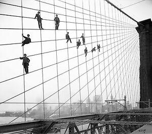 new york bridge antique print photograph black white large  canvas