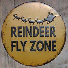 Metal Tin Sign round reindeer fly zone decor Bar Pub Retro Poster 30cm diameter