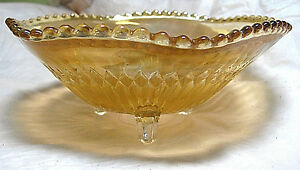 Peach Lustre Jeannette Anniversary Marigold Glass Footed Candy Dish
