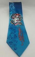 Ed Hardy Mens Tie Skull Snake Eagle Turquoise Blue Silk Christian Audigier 60L