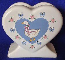 HEAVY RIBBON GEESE HEART SHAPED NAPKIN HOLDER TABLE TOP TREASURE CRAFT
