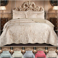3 Piece Luxury Jacquard Bedspread Quilted Throw Double King Floral Bedding Set