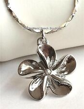 Silver Plumeria Flower Necklace Plated Beach Caribbean Hawaiian Island USASeller