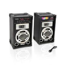 "Pyle PSUFM835A PAIR of 800W 8"" Speakers USB/AUX Input FM DJ Flashing Lights"