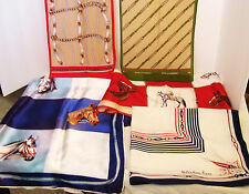 4 Horse Print Scarves Equestrian 1 Nautical Fiore Jacqmar Italy Japan Vintage