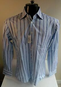 PINK by Thomas Pink Cotton Blue Striped Button Front Shirt SZ 15 1/2-Archive NWT