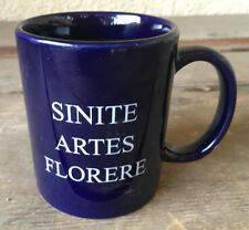 The Artsware Store Navy Blue White Coffee Mug Sinite Artes Florere Latin Flowers