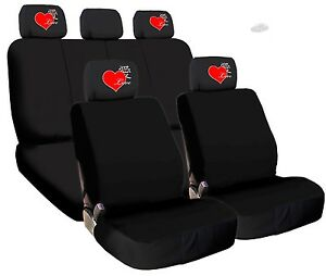 For Audi NEW 4X LOVE LOGO HEADREST COVERS WITH BLACK CLOTH SEAT COVERS