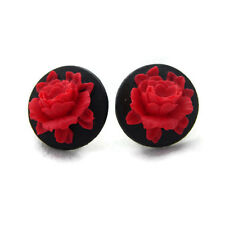Rockabilly Black and Red Rose Cameo Earrings, Retro, Pinup, Vintage Style