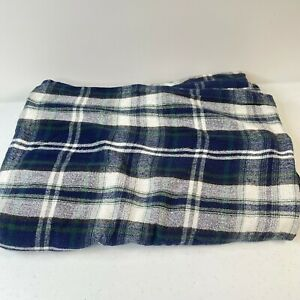 flannel flat sheet blue 100% cotton plaid jcpenney twin