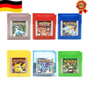 Pokemon GBC Spiele Silber Kristall Gold/Gelb/Grün/Blau/Rot Gameboy Color GBA NEW