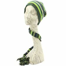 Hat Tail Knit Beanie Slouch Festival Cotton Hippy Striped New Blue Green Funky